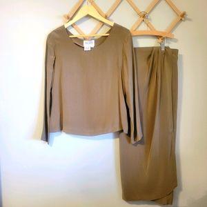 Hugo Buscati Vintage 100% Silk Top and Wrap Skirt